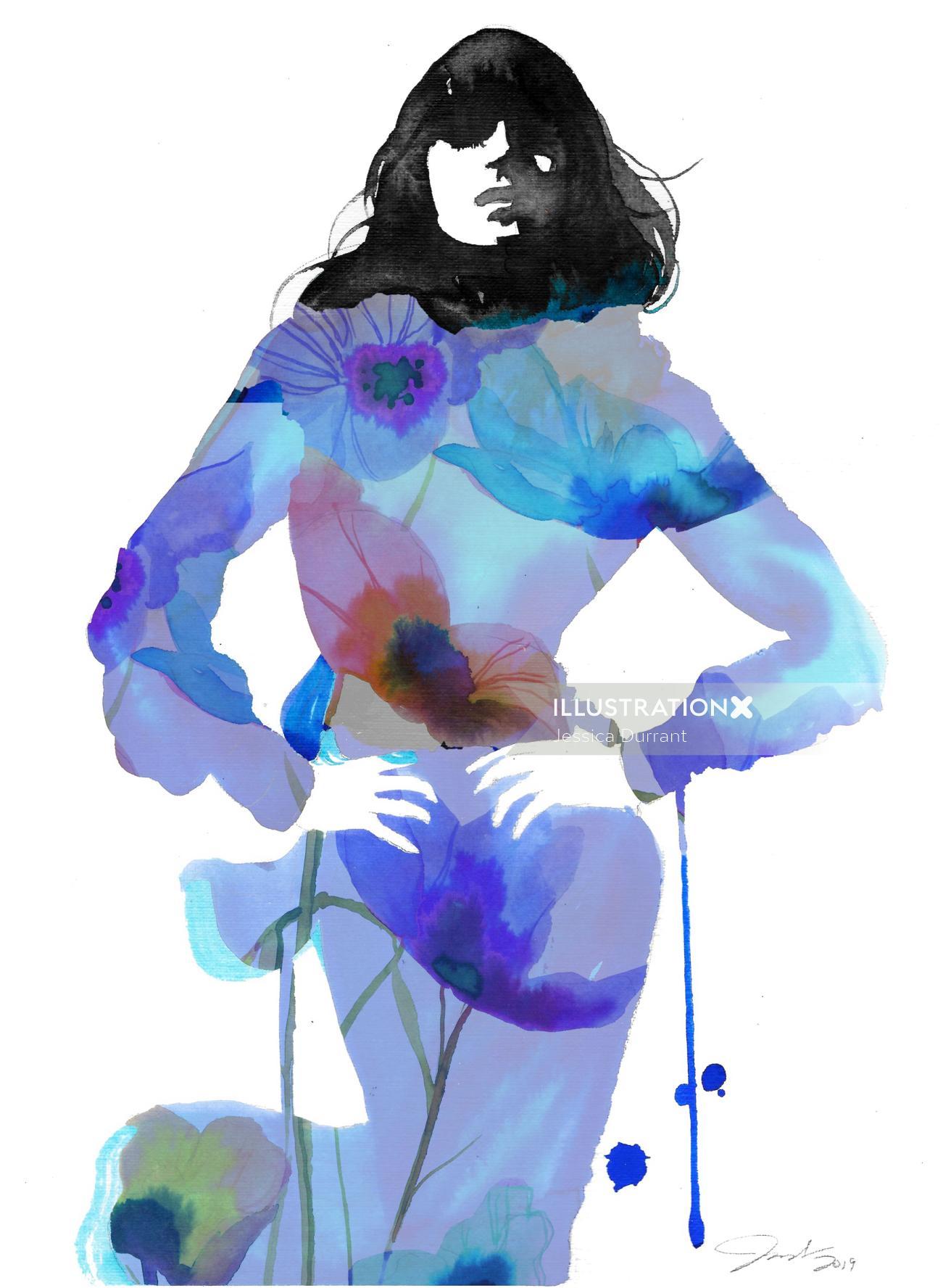 Translucent watercolour drawn beauty