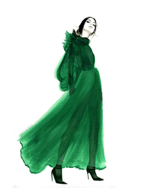 Water color Fashion lady in green
