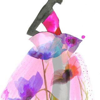 Stylistic Fashion beauty in Translucent Ballgown