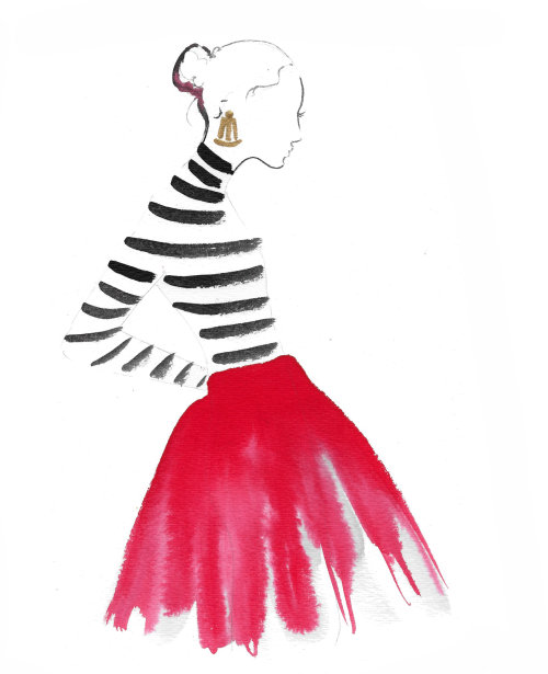 Watercolour Fashion beauty Parisian chic