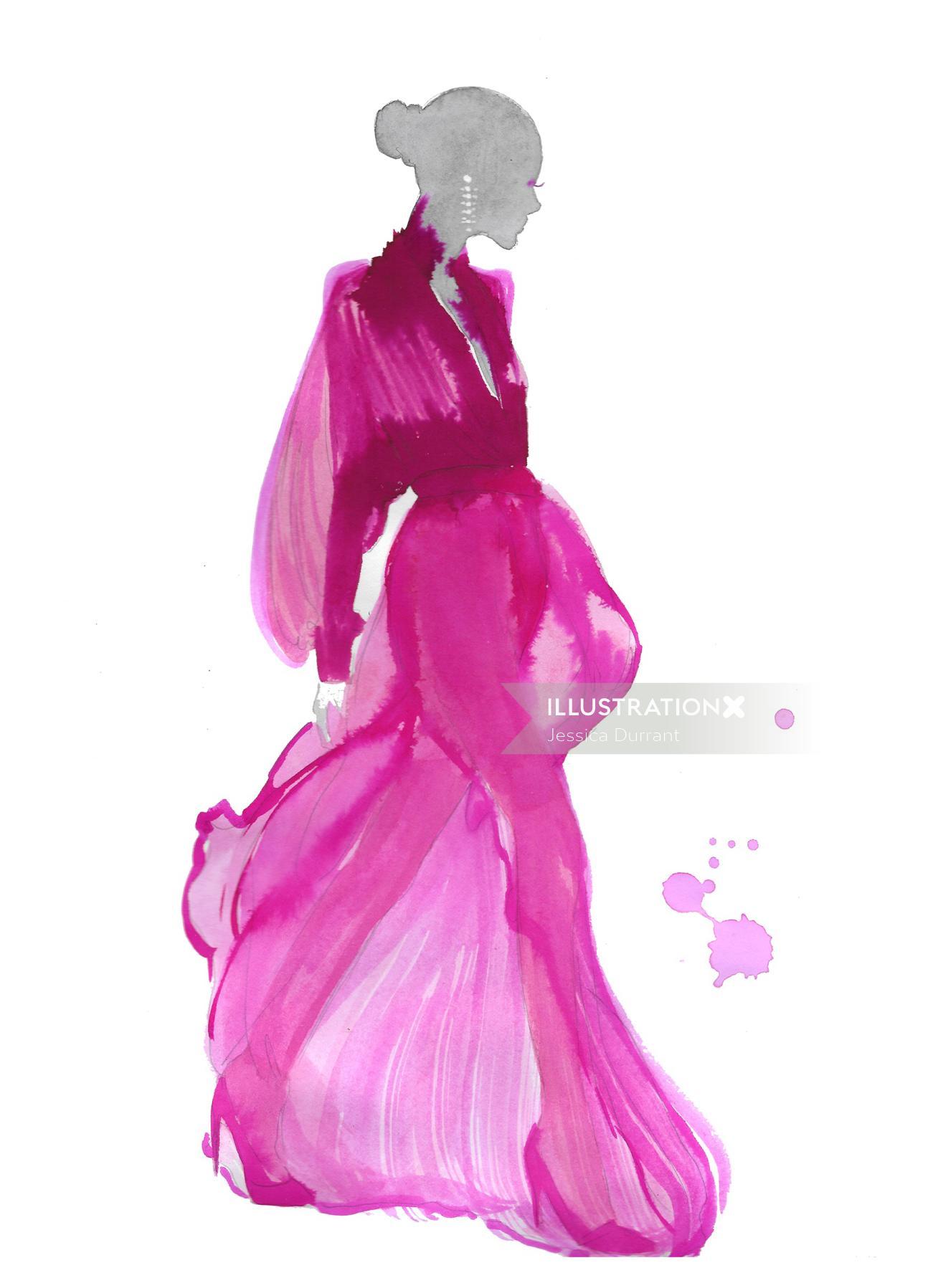 Strutting Fahion beauty in Pink Dress