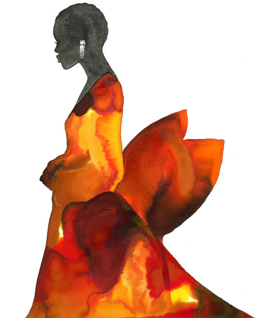 Watercolor Fashion beauty in Lava dress