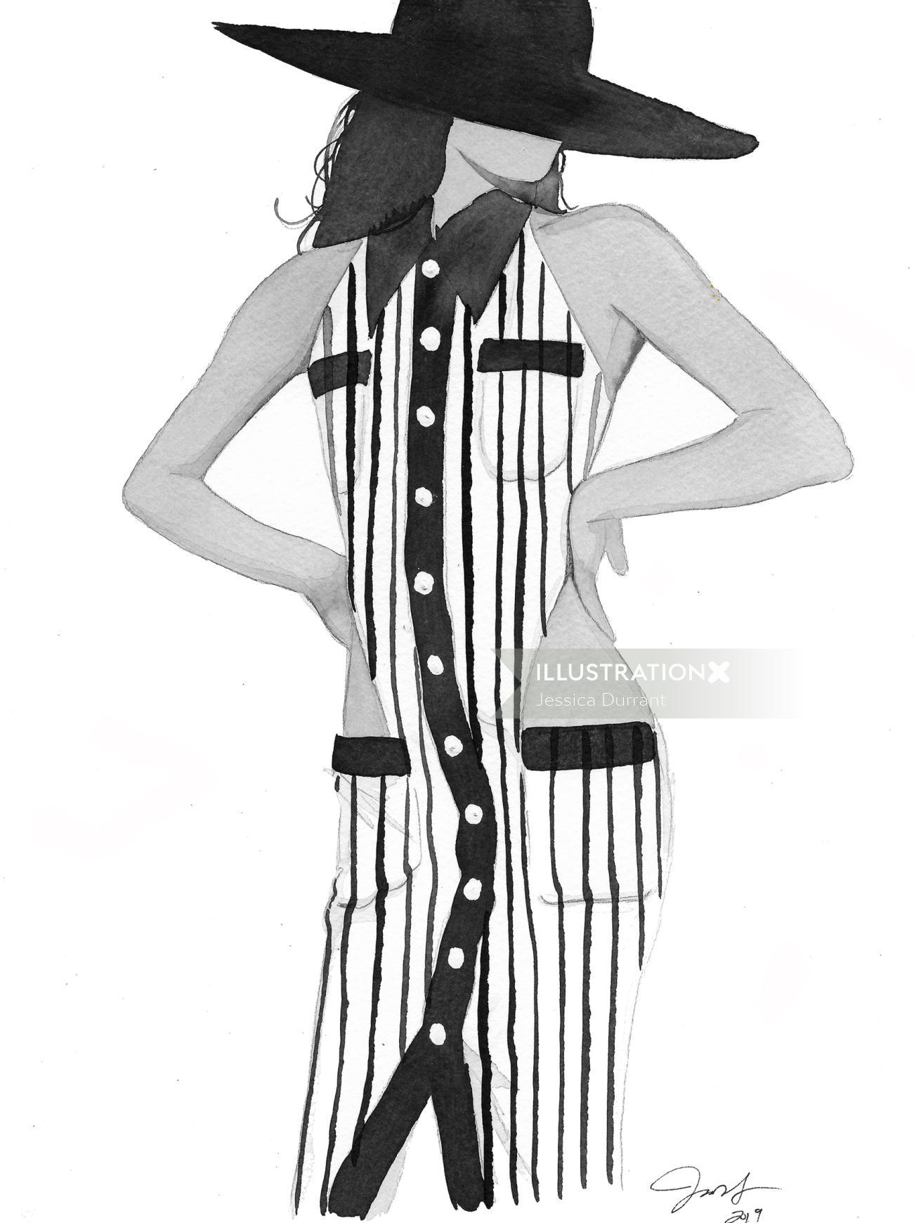 Stylistic beauty in stripped dress