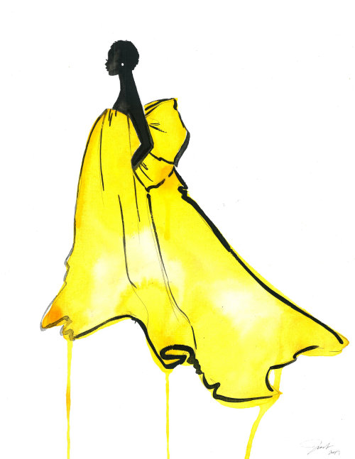 stylistic Woman in Bright as yellow dress