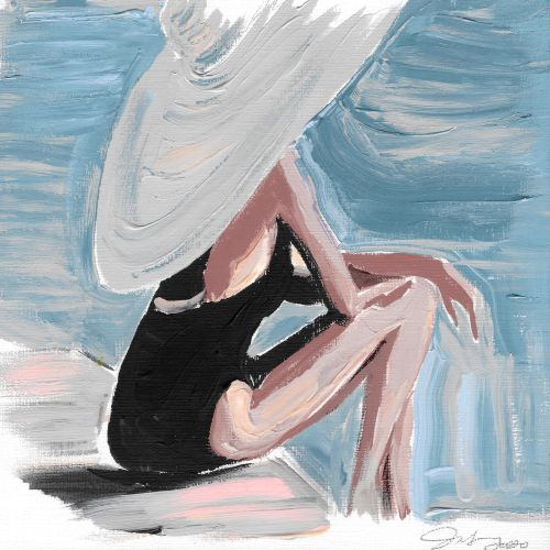 watercolor illustration of woman sitting near beach