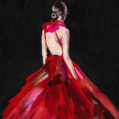Beauty in red dress