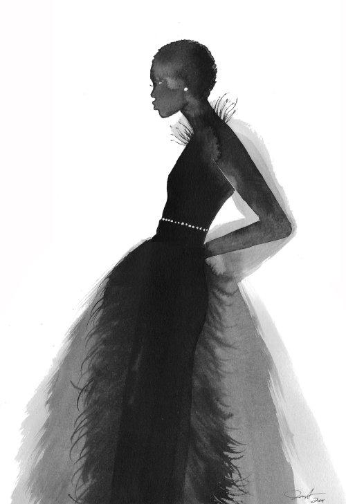 Fashion The Muse, aquarelle sur papier.