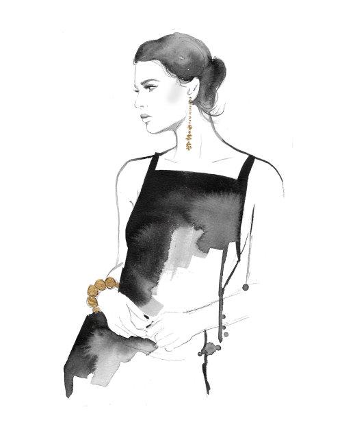 Watercolor art of model posing in black dress