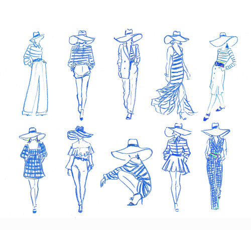 Line art of fashion models