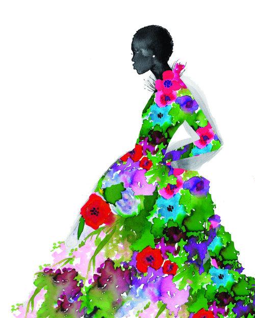 Watercolor model in floral dress