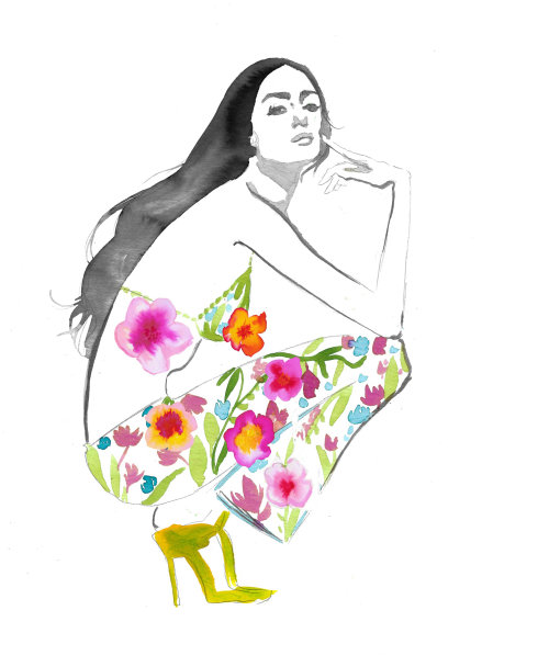 watercolor art of women with floral pant