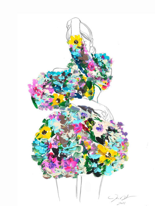 Watercolor art of multicolor floral dress