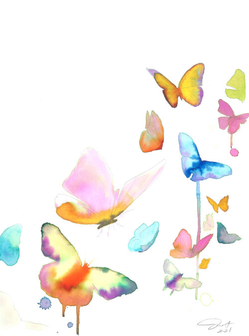 watercolor art of colorful butterflies