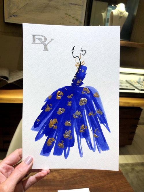 Live event drawing blue dress