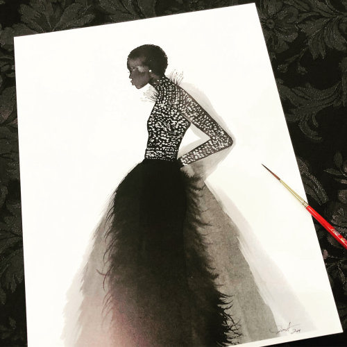 Live event drawing of woman in black dress