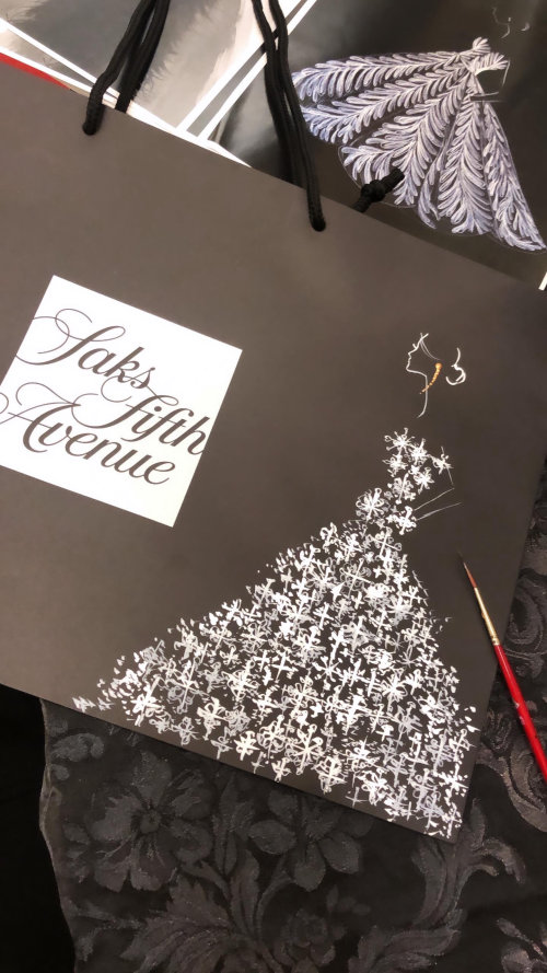 Live event drawing of glittery dress at saks fifth avenue
