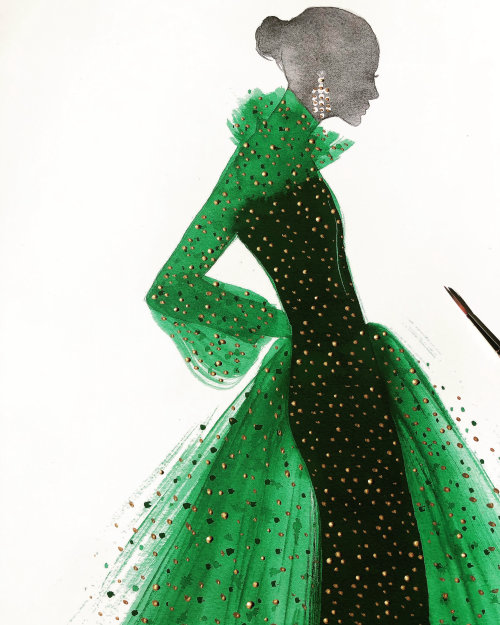Live event drawing in green dress