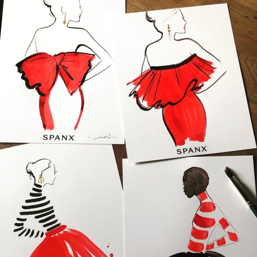 Live event drawing of model in red dress