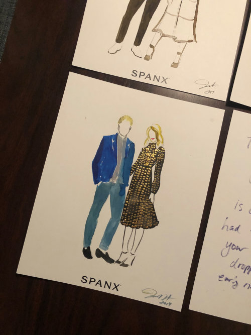 Live event drawing of couple spanx