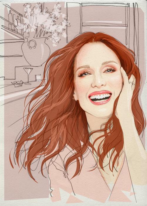 Digital portrait of smiling girl