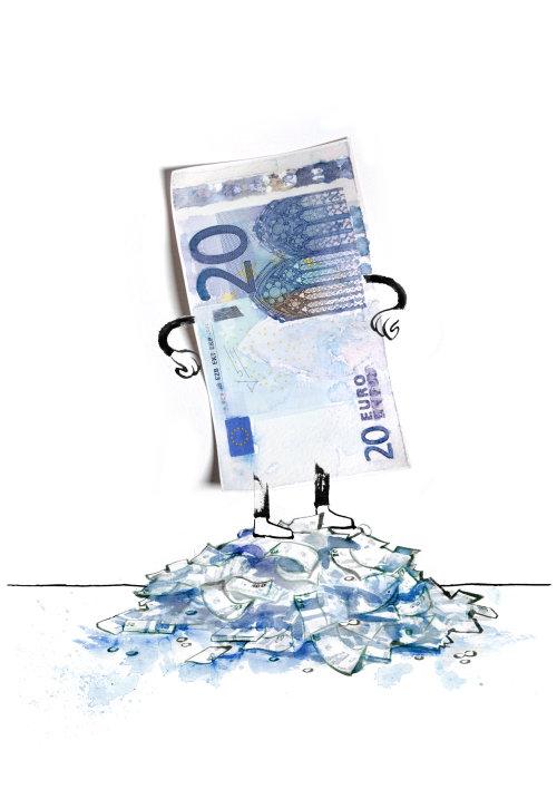 Cartoon illustration of money man