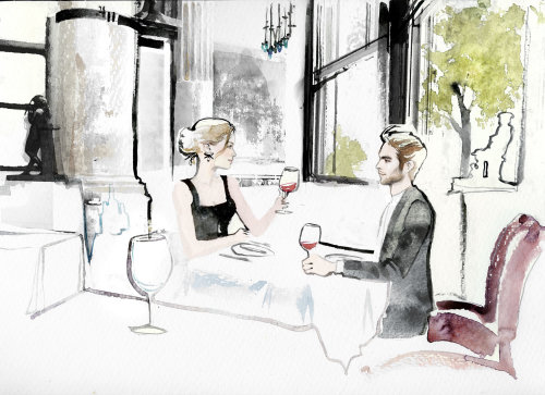 Couple date watercolor drawing