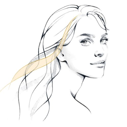 Line art of beautiful girl