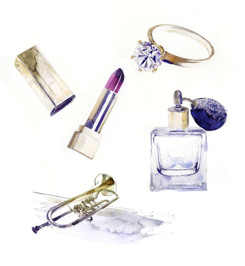 Watercolor painting of beauty accessories