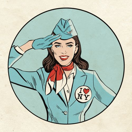 Sticker design of air hostess
