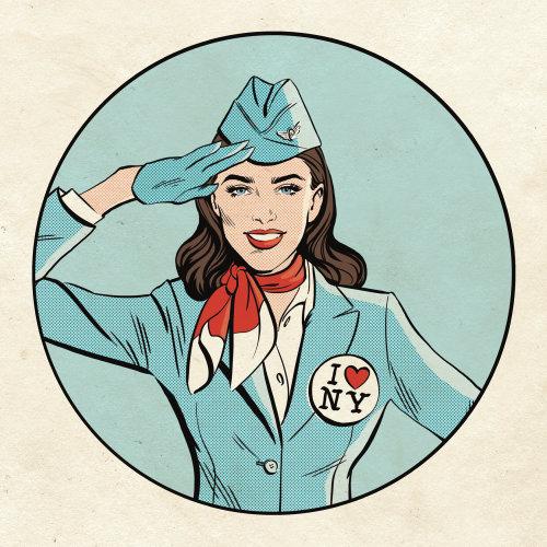 Sticker design of air hostess