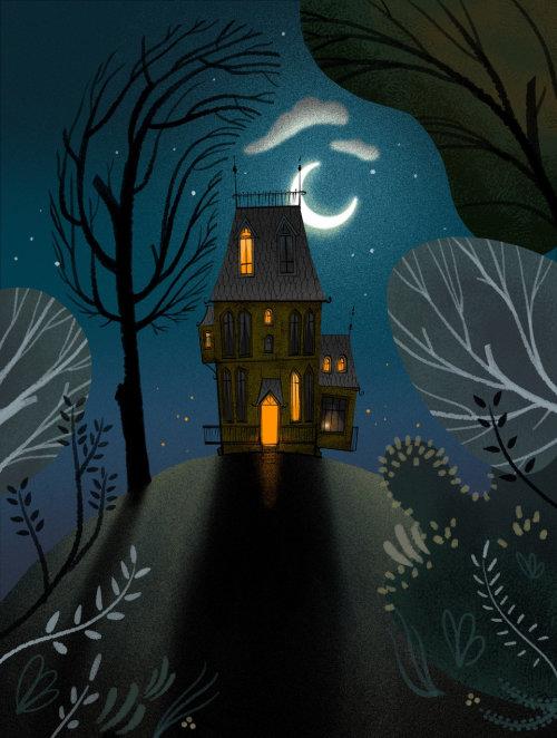 Dark fantasy house illustration