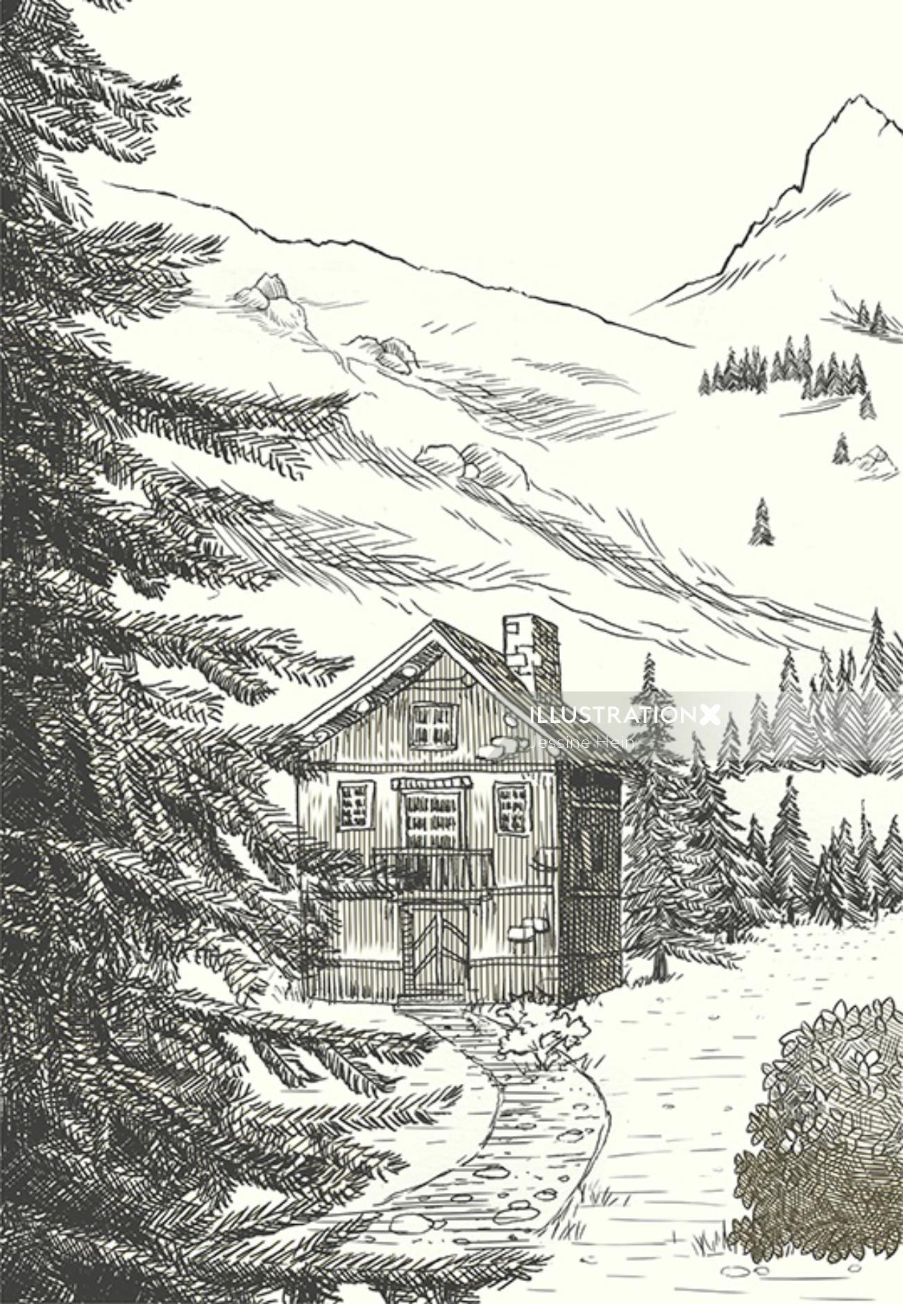 Mountain view line artwork