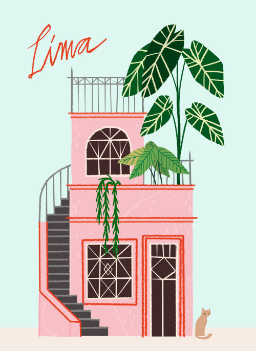 Lima building watercolor design