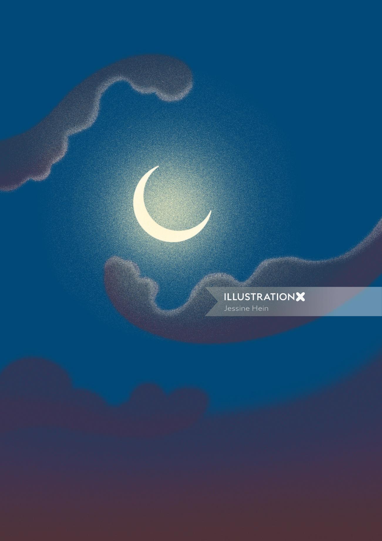 Graphic design of moon light