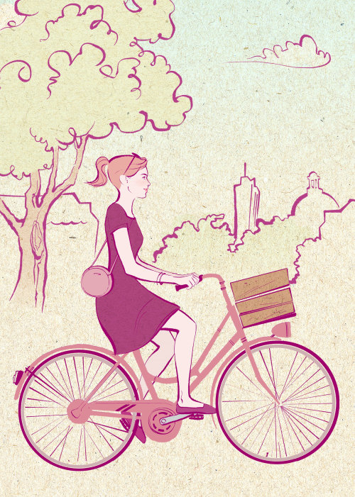 Watercolor painting of girl with cycle