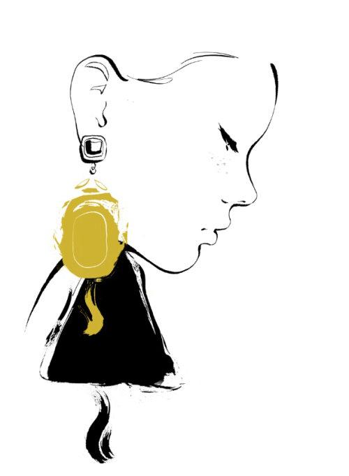 Line art of women with golden earrings