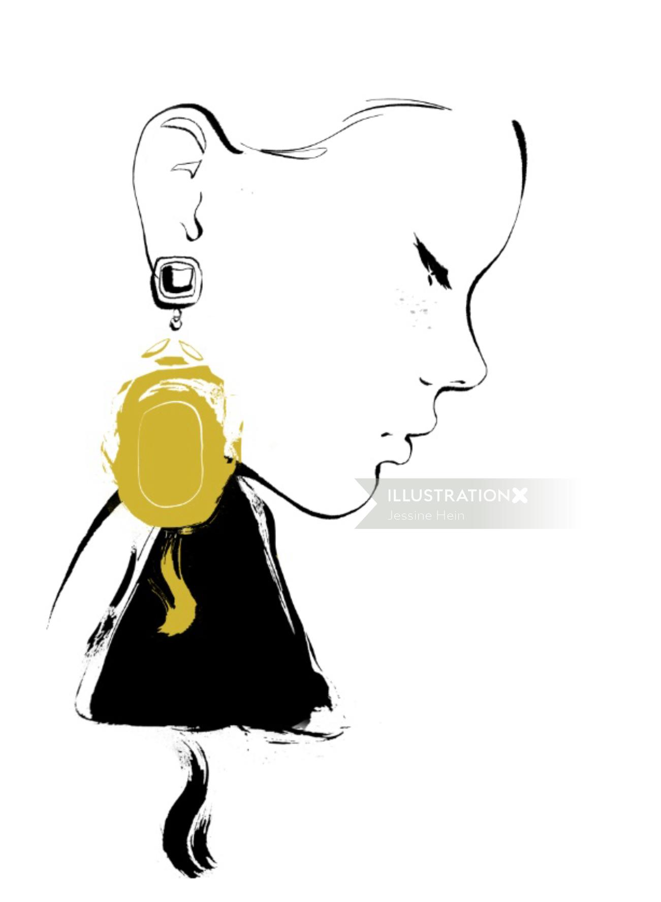 Line art of women with golden earrings