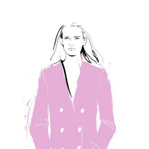 Elegant pink fashion long coat illustration
