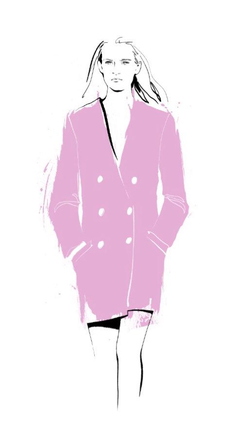 Elegant pink fashion long coat illustration
