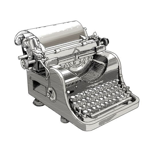 Black and white illustration of typewriter