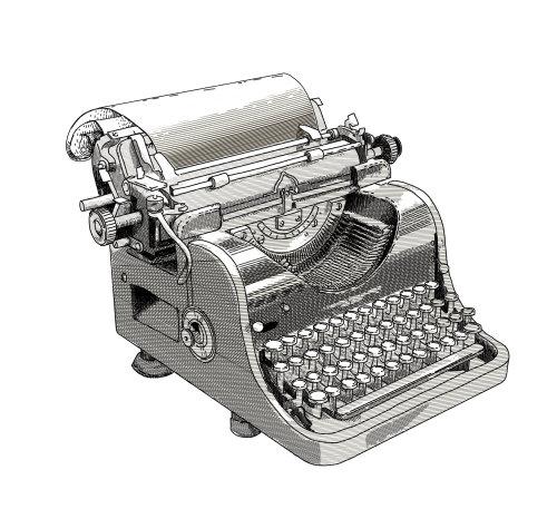 Black and white illustration of typewriter