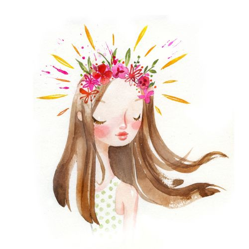 Cartoon illustration of floral crown