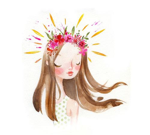 Cartoon illustration of floral crown