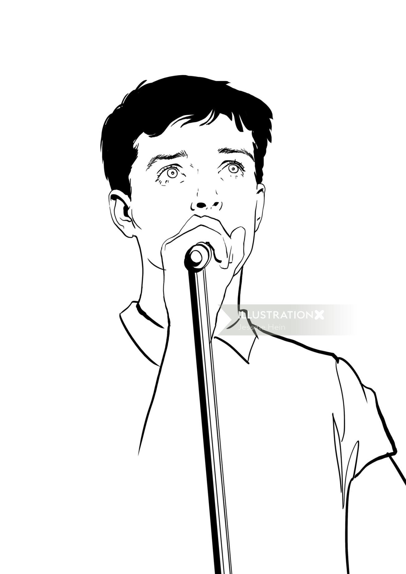 Line portrait of male singer