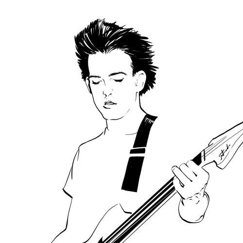 Line art of guitarist