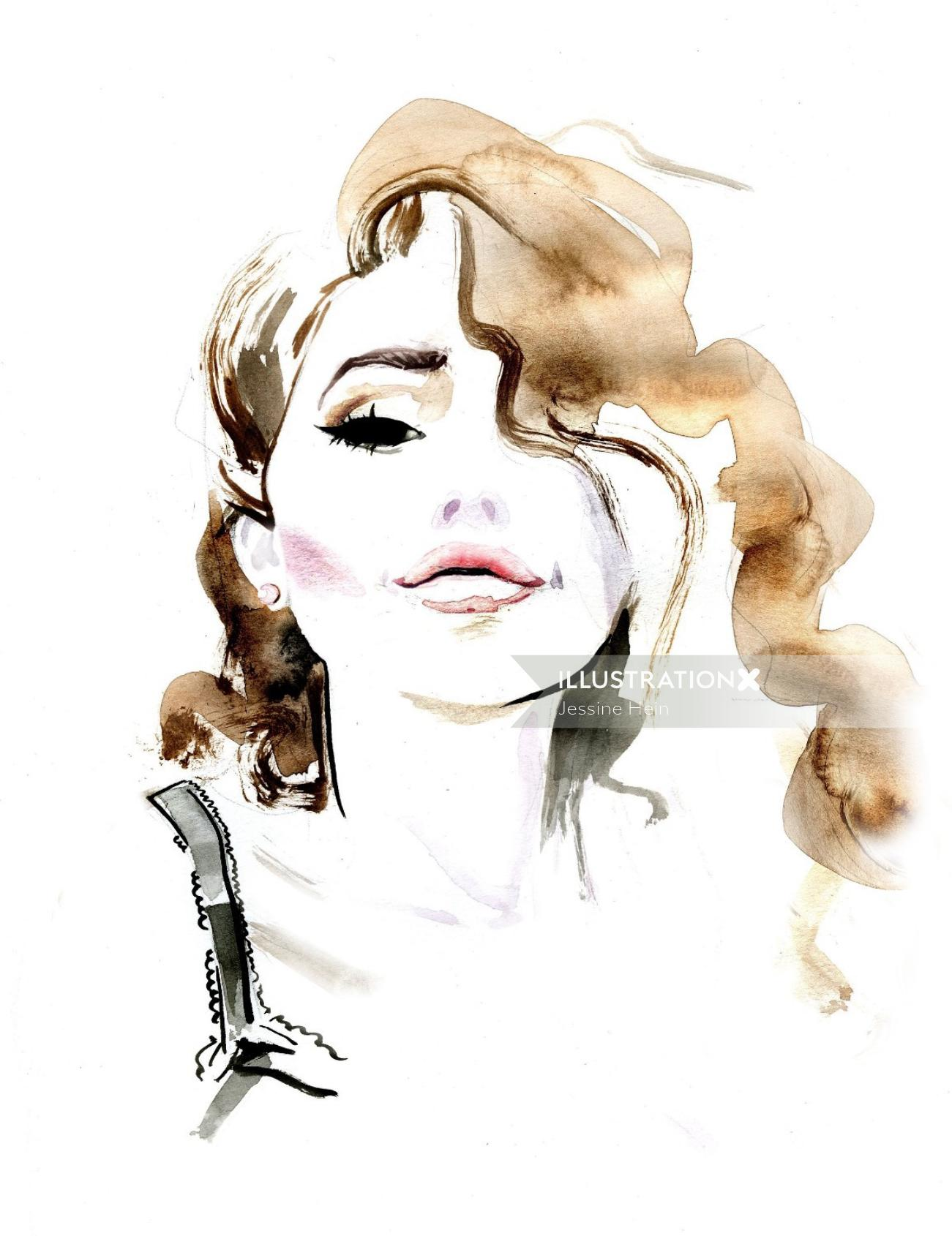 Woman water color- fashion illustration