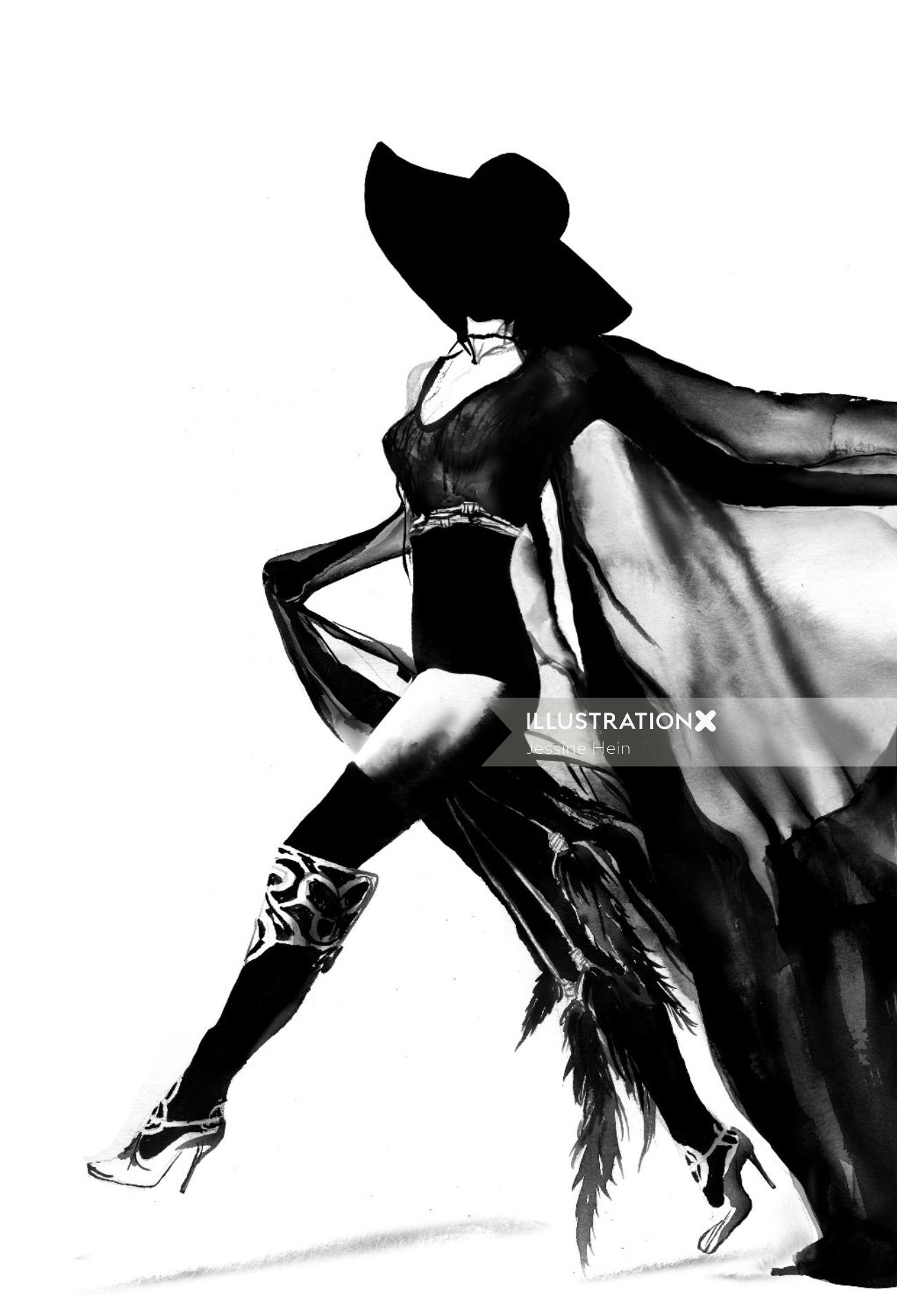 Fashion woman model with a black hat vector art illustration