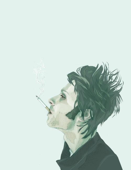 Watercolor painting of smoking man