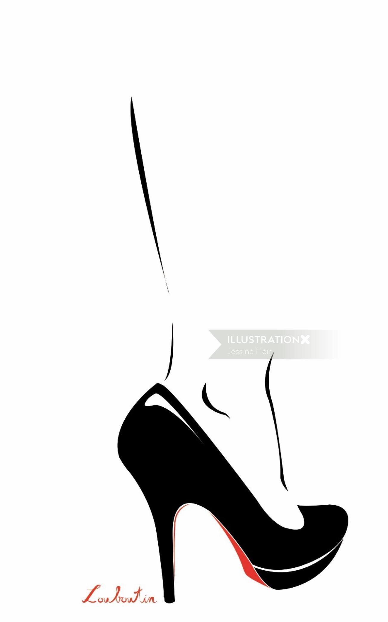 Fashion Line art of women High Heels