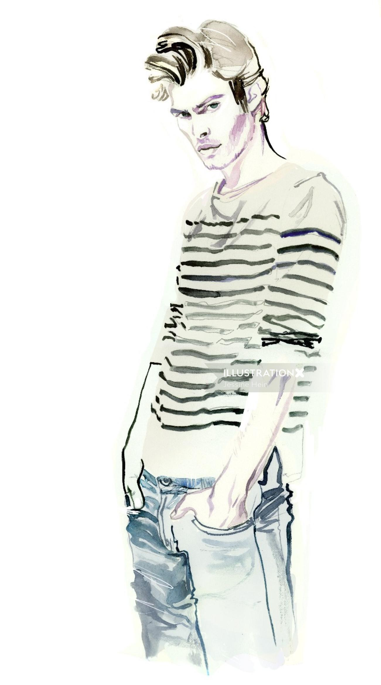 Mens fashion watercolor painting by Jessine Hein